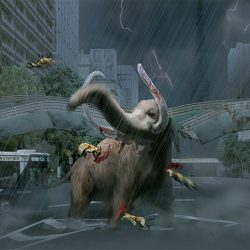 Screenshot of game art where mammoth is being attacked by other animals