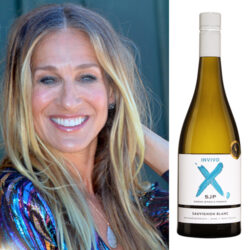 Sarah Jessica Parker and a bottle of her Sauvignon Blanc wine